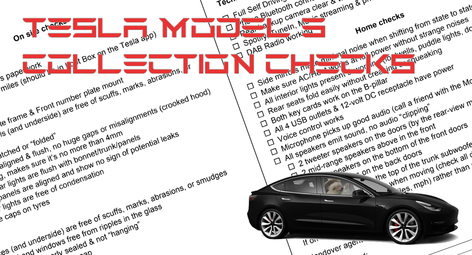 Tesla Model 3 UK collection – checklist and other important information